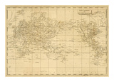 World Mercator's Projection, c.1812 Print by Aaron Arrowsmith