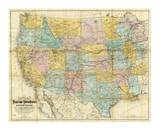 National Map of the Territory of the United States, c.1868 Affiches par William J. Keeler