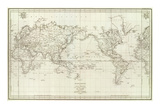 Mappemonde, c.1797 Plakater av Jean-francois De Galaup La Perouse
