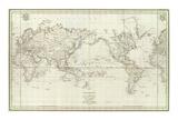 Mappemonde, c.1797 Posters by Jean-francois De Galaup La Perouse