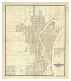 Map of Milwaukee, c.1856 Art by I. A. Lapham