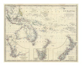 Oceania, c.1861 Posters by Alexander Keith Johnston