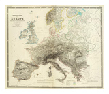 Mountains of Europe, c.1854 Poster by Alexander Keith Johnston