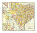 Railroad And County Map Of Texas, c.1882 Prints