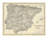 Spain, Portugal, c.1861 Art by Alexander Keith Johnston