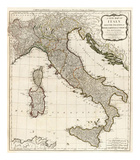 New Map of Italy with the Islands of Sicily, Sardinia and Corsica, c.1790 Posters par Thomas Kitchin