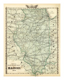 Official Railroad Map of the State of Illinois, c.1876 Print by Warner &amp; Beers 