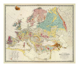 Geological Map of Europe, c.1856 Print by Sir Roderick Impey Murchison
