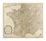 New Map of the Kingdom of France, c.1790 Posters av Thomas Kitchin