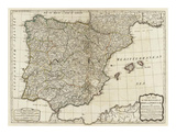New Map of the Kingdoms of Spain and Portugal, c.1790 Posters by Thomas Kitchin