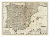 New Map of the Kingdoms of Spain and Portugal, c.1790 Print by Thomas Kitchin