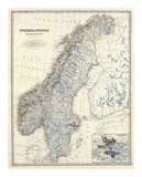 Sverige, Norge, ca 1861 Konst av Alexander Keith Johnston