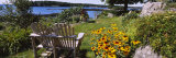 Two Adirondack Chairs in a Garden, Peaks Island, Casco Bay, Maine, USA Photographic Print by  Panoramic Images