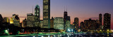 Buildings Lit Up at Dusk, Lake Michigan, Chicago, Cook County, Illinois, USA Photographic Print by  Panoramic Images