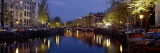 Night View Along Canal Amsterdam the Netherlands Photographic Print by  Panoramic Images