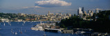 High Angle View of Sailboats in a Lake with a City in the Background, Lake Union, Seattle Photographic Print by  Panoramic Images