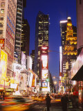 Buildings in a City Lit Up at Dusk, Times Square, Manhattan, New York City, New York State, USA Photographic Print