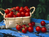 Still Life of Cherry Tomatoes in a Rectangular Woven Basket Photographic Print