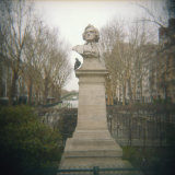Pigeon Beside a Bust in a Park, France Photographic Print