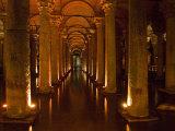 Interiors of a Basilica Cistern, Istanbul, Turkey Photographic Print