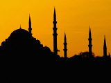 Silhouette of a Mosque, Blue Mosque, Istanbul, Turkey Photographic Print