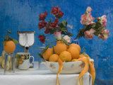 Close-up of Colorful Juice Stand with Flowers and Oranges, Kasbah of Oudaya, Rabat, Morocco Photographic Print