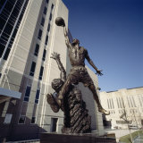 Low Angle View of a Statue in Front of a Building, Michael Jordan Statue, United Center Photographic Print