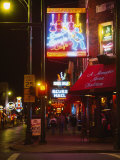 Neon Sign Lit Up at Night in a City, Rum Boogie Cafe, Beale Street, Memphis, Shelby County Photographic Print