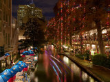 Restaurant Along a River Lit Up at Dusk, San Antonio River, San Antonio, Texas, USA Photographic Print