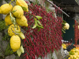 Close-up of Lemons and Chili Peppers in a Market Stall, Sorrento, Naples, Campania, Italy Photographic Print