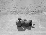 High Angle View of a Senior Couple Sitting on Steps, San Francisco, California, USA Photographic Print