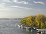 Boats Anchored at a Port, Mississippi River Valley, La Crosse, Wisconsin, USA Photographic Print