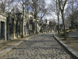 Monuments on the Side of a Path, Pere-Lachaise Cemetery, Avenue Des Acacias Paris, France Photographic Print
