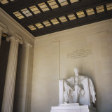 Low Angle View of the Statue of Abraham Lincoln, Lincoln Memorial, Washington DC, USA Photographic Print