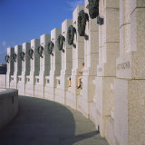 Columns at a War Memorial, National World War II Memorial, Washington DC, USA Photographic Print
