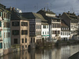 Houses Along a River, Ill River, Alsace, Strasbourg, France Photographic Print