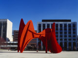 Sculpture in Front of a Building, Alexander Calder Sculpture, Grand Rapids, Michigan, USA Photographic Print