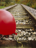 Close-up of a Balloon on a Railroad Track, Germany Photographic Print