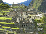 Buildings on a Hill, Andes Mountains,Machu Pichu, Peru Photographic Print