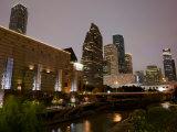 Buildings Lit Up at Dusk, Wortham Theater Center, Houston, Texas, USA Photographic Print