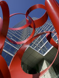 Low Angle View of a Sculpture in Front of a Building, Bank of America Plaza, Dallas, Texas, USA Photographic Print