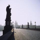 Low Angle View of Statues on a Bridge, Charles Bridge, Prague, Czech Republic Photographic Print