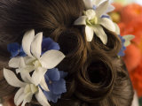 Close-up of Flowers in a Bride's Hair, Bainbridge Island, Washington State, USA Photographic Print