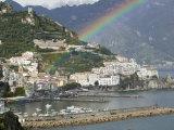 Rainbow over a Town, Almafi, Amalfi Coast, Campania, Italy Photographic Print