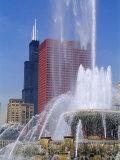 Fountain in a City, Buckingham Fountain, Chicago, Illinois, USA Photographic Print