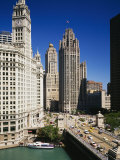 Buildings in a City, Wrigley Building, Chicago, Illinois, USA Photographic Print