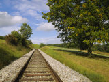 Railroad Track Passing Through a Landscape, Germany Photographic Print