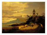 Village of Fishermen with Church Giclee Print