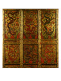 Wooden Panel Depicting Dragons Giclee Print