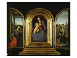 Tryptych: Enthroned Madonna and Child, St Catherine of Alexandria and St Barbara Giclee Print